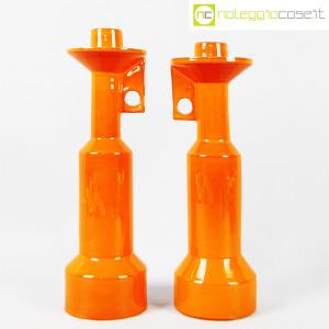 Il Picchio, coppia candelieri in ceramica arancione, Enzo Bioli (1)