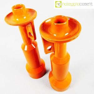 Il Picchio, coppia candelieri in ceramica arancione, Enzo Bioli (3)