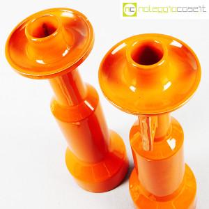 Il Picchio, coppia candelieri in ceramica arancione, Enzo Bioli (4)