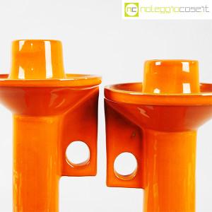 Il Picchio, coppia candelieri in ceramica arancione, Enzo Bioli (5)