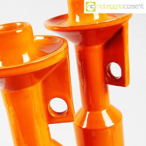 Il Picchio, coppia candelieri in ceramica arancione, Enzo Bioli (7)