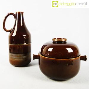 Ceramiche Franco Pozzi, brocca e contenitore marroni, Ambrogio Pozzi (1)