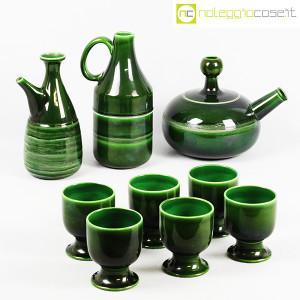 Ceramiche Franco Pozzi, caraffe con bicchieri verde scuro, Ambrogio Pozzi (1)