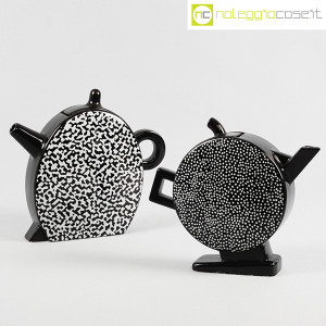 Mas Ceramiche, coppia teiere nere postmodern, Massimo Materassi (1)