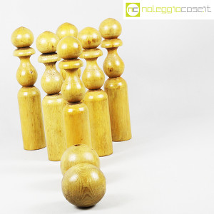Birilli e sfere in legno per bowling vintage (3)