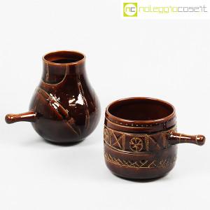 Ceramiche Franco Pozzi, coppia pentolini marroni decorati, Ambrogio Pozzi (1)