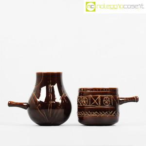 Ceramiche Franco Pozzi, coppia pentolini marroni decorati, Ambrogio Pozzi (2)