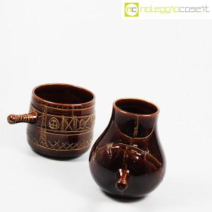 Ceramiche Franco Pozzi, coppia pentolini marroni decorati, Ambrogio Pozzi (3)