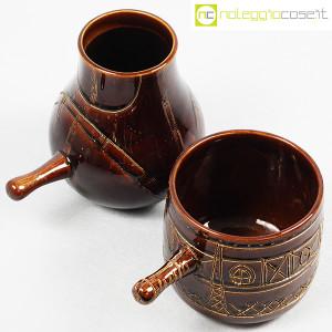 Ceramiche Franco Pozzi, coppia pentolini marroni decorati, Ambrogio Pozzi (4)
