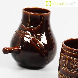 Ceramiche Franco Pozzi, coppia pentolini marroni decorati, Ambrogio Pozzi (5)