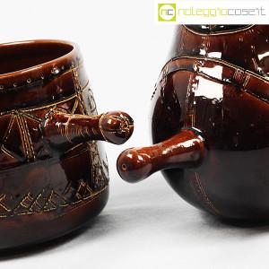 Ceramiche Franco Pozzi, coppia pentolini marroni decorati, Ambrogio Pozzi (7)
