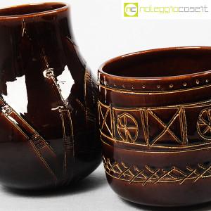 Ceramiche Franco Pozzi, coppia pentolini marroni decorati, Ambrogio Pozzi (8)