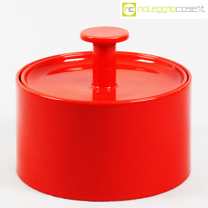 Ceramiche Franco Pozzi, biscottiera rossa con coperchio, Ambrogio Pozzi (1)