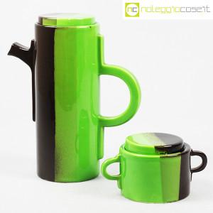 SIC Ceramiche Artistiche, teiera e zuccheriera verde e marrone (1)