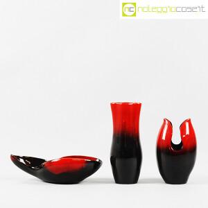 Ceramiche Franco Pozzi, set ceramiche in nero e rosso al selenio, Ambrogio Pozzi (2)