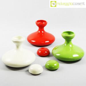 Parravicini Ceramiche, vasi con tappo verde, bianco e rosso (5)