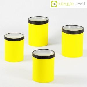 Kartell, barattoli tondi gialli con coperchio a lente, Gino Colombini (1)